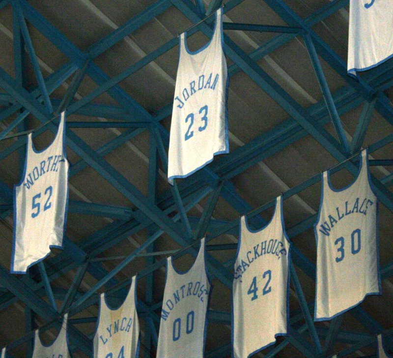 Michael Jordan College Jersey Hanging In The Rafters At UNC