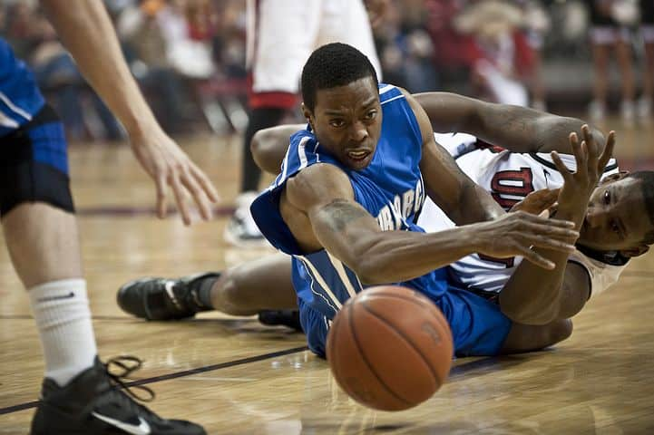 Basketball Forward Player Diving For The Ball