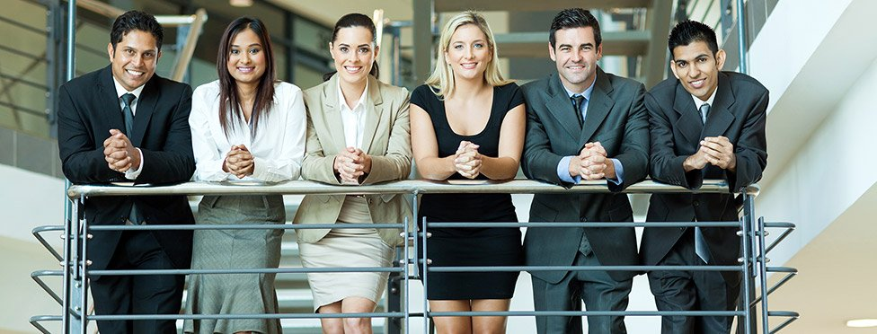 Group of business people on stairs